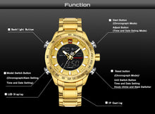 Brand Mens Sport Watch Gold Quartz Led Clock Men Waterproof Wrist Watch Male Military.