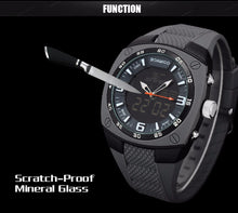 Men's watch, sports. dual display, rubber strap man digital analog LED wrist watches waterproof quartz clock.