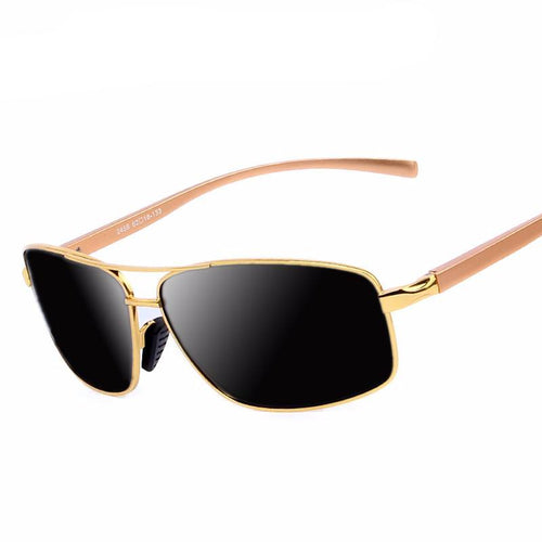 Men luxury polarized sunglasses. Aluminum alloy classic, gold frame, high-quality.