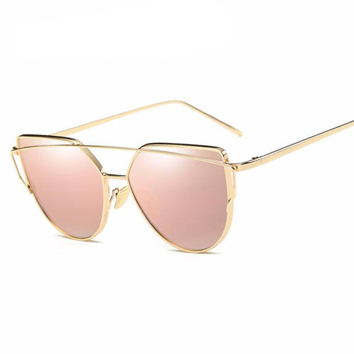 Women's sunglasses, cat eye style, clear mirror, optical frame