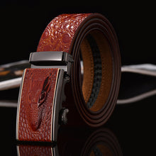 Men's, genuine leather, crocodile pattern belt, automatic buckle. Shrewd, never follow the crowd.