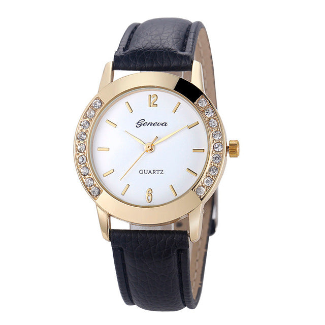 Women's diamond analog leather quartz wrist watch. Cool watches!