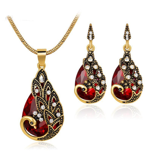Peacock Water Drop Shape Women's Jewelry Sets Rhinestone Necklace Earrings African Beads Costume Jewelry Set