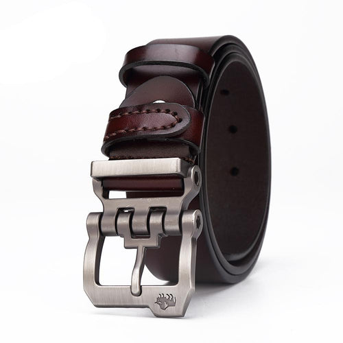 Genuine leather belt for men, gift high-quality cowskin, personality buckle, for your jeans. HURRY UP NOW!