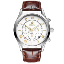 Fashion Men Dress Watches Quartz Silver Bezel Man Clock Leather Strap Wristwatch.