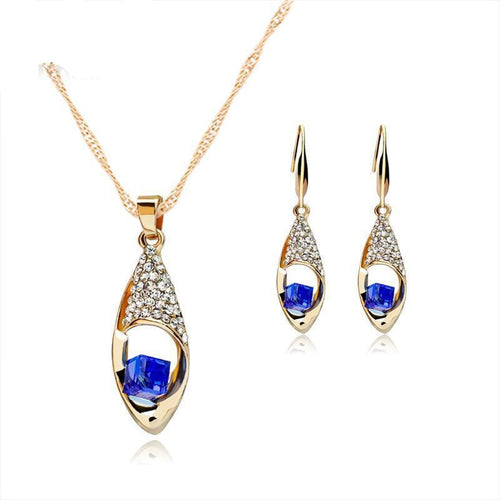 Drop Crystal Necklaces Earrings Beads Bridal Stainless Steel Jewelry Set Statement Jewellery Sets for Women