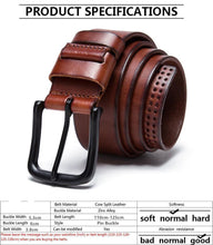 Men's belt, 100% genuine full grain leather, pin buckle belts for jeans cowboy.