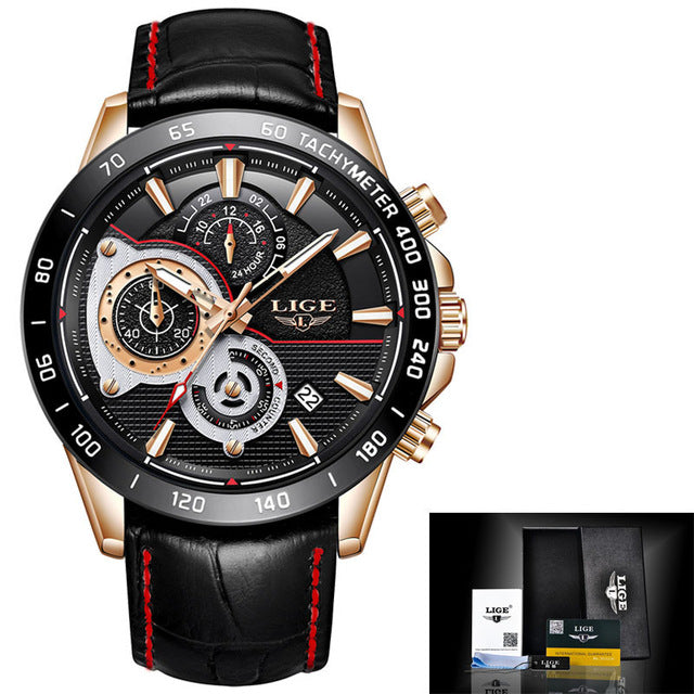 Men's Watch, Luxury clock mens Quartz Watches Sports Chronograph leather Waterproof fashion Watch.