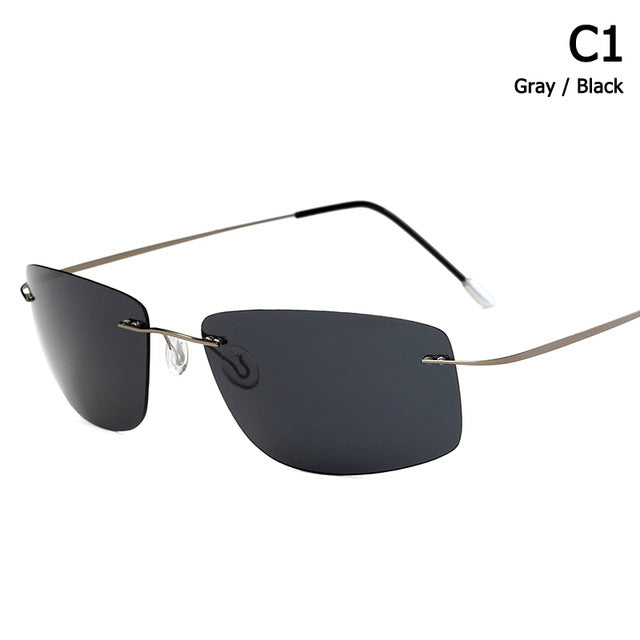 Rimless Square Style Titanium POLARIZED Sunglasses Ultralight Driving.