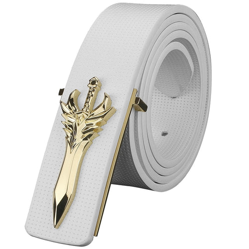 Leather belt white fancy. For men. Fantastic buckle. BUY IT NOW!