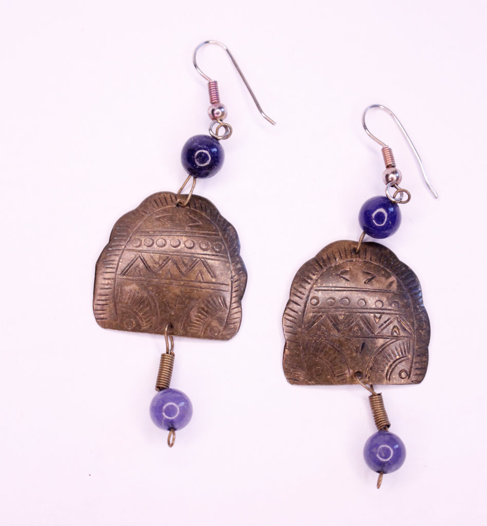 Vintage Brass & Blue Drop Earrings
