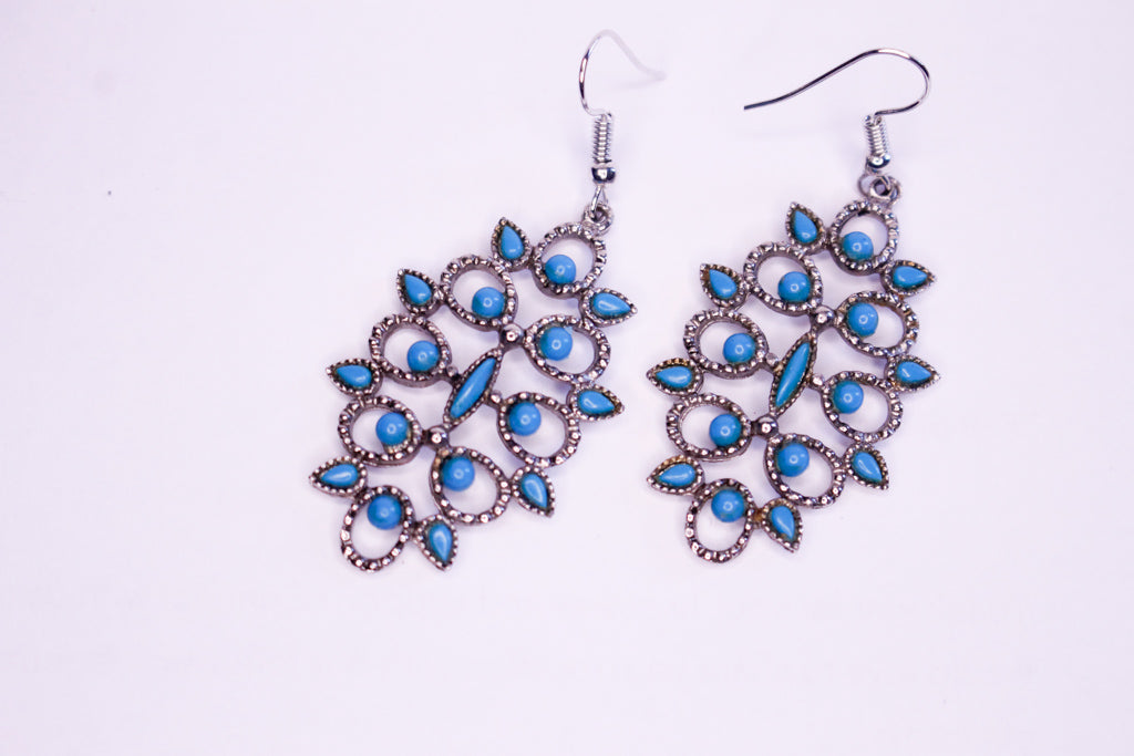 Turquoise Braided Web Earrings