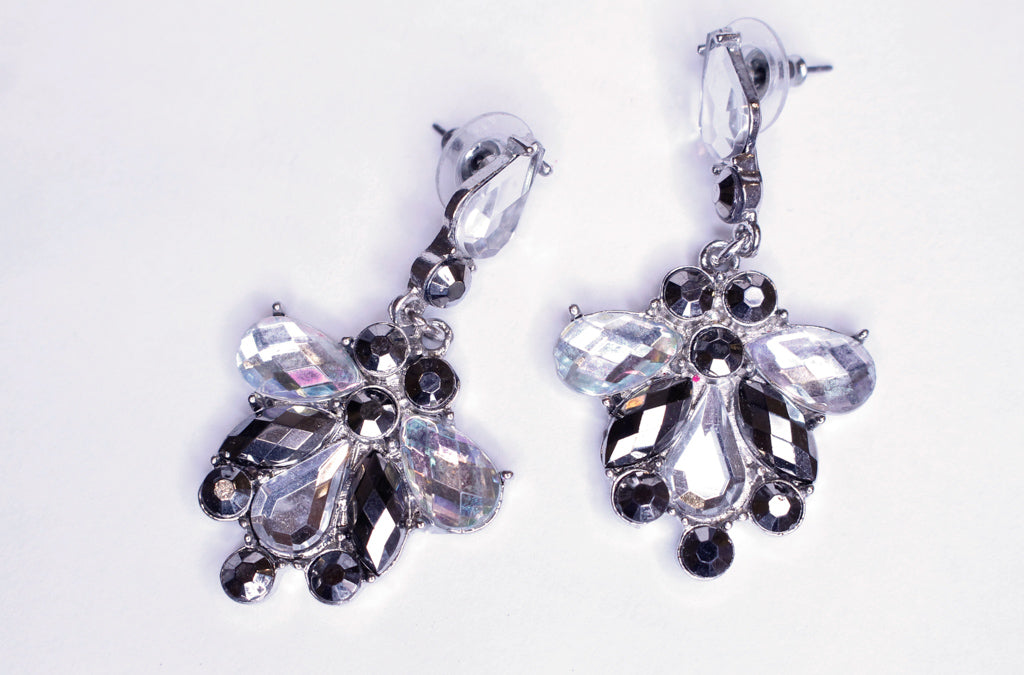 Crystal & Black Earrings