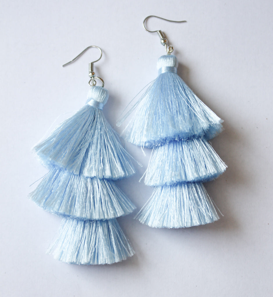 3 Tier Tassel Earrings - Baby Blue
