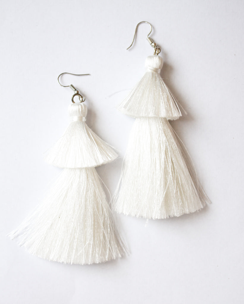 2 Tier Tassel Earrings - White