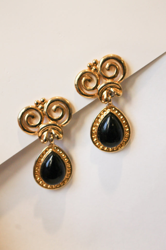 Vintage Black Drop Earrings