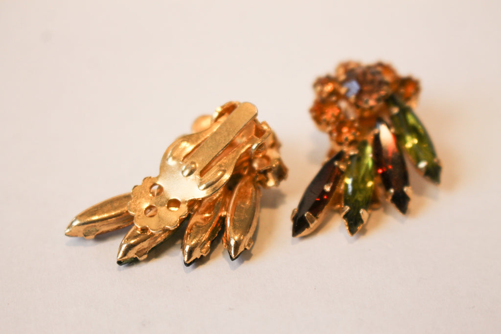Vintage Fan Rhinestone Earrings
