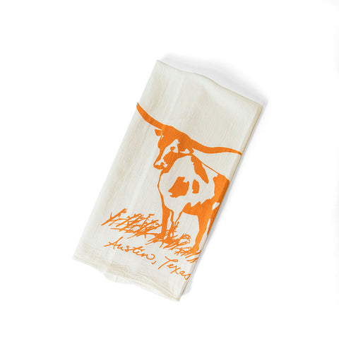 longhorn tea towel