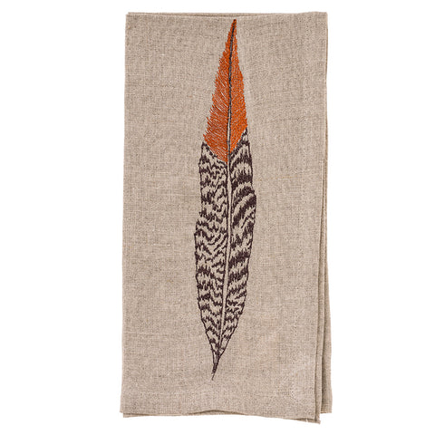 Pheasant Feather Dinner Napkin