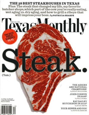 Cover of Texas Monthly December 2007