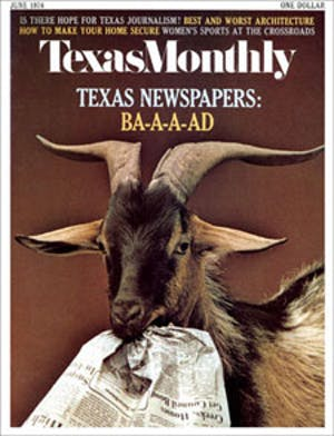 Cover of Texas Monthly June 1974