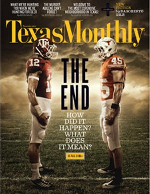 Cover of Texas Monthly November 2011