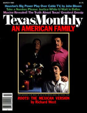 Cover of Texas Monthly March 1980
