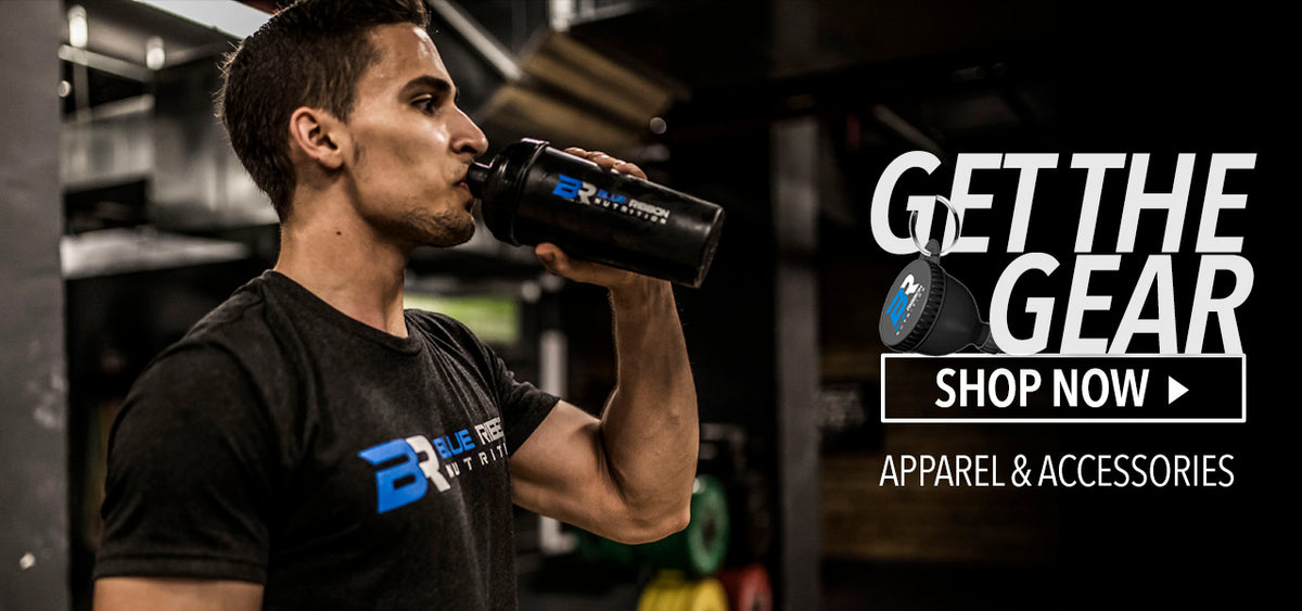 Shaker bottle. Shirt. Apparel and supplement accessories. Funnel.