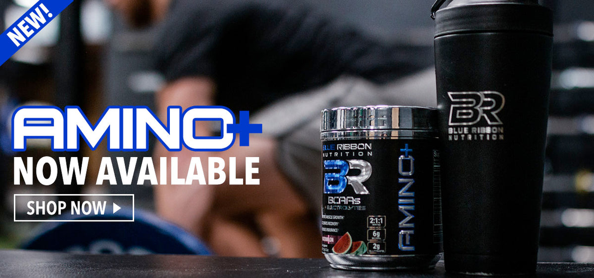 Blue Ribbon nutrition amino plus bcaas now on sale. 2:1:1 ratio with glutamine, electrolytes, and citrulline. Recover faster!