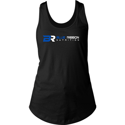 60/40 women's racerback gym tank top blue ribbon nutrition