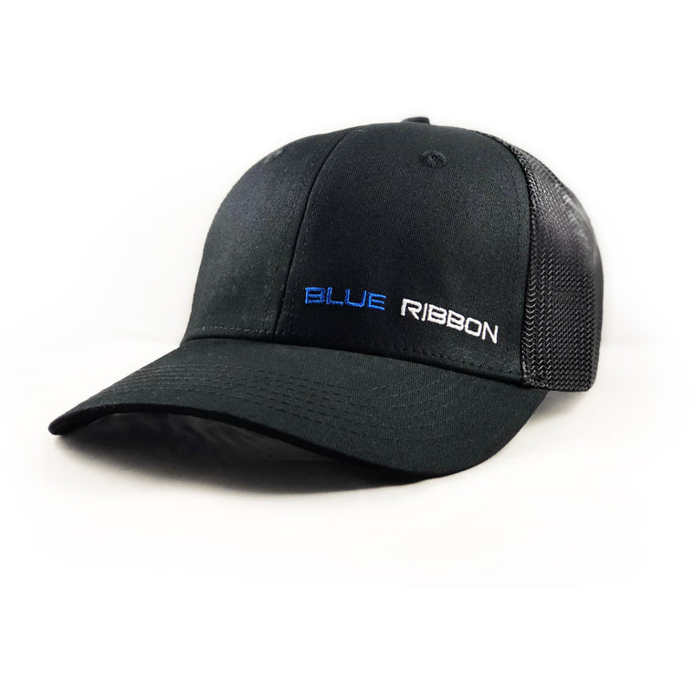 snapback trucker hat mesh blue ribbon nutrition