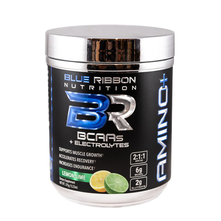 Blue Ribbon Nutrition AMINO+ Best Branched-chain amino acids BCAAs + electrolytes and glutamine lemon lime flavor