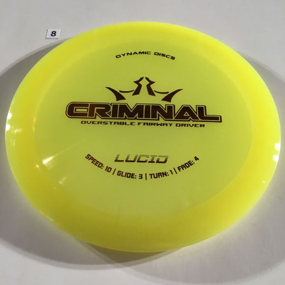 Dynamic Discs Lucid Criminal #8 Yellow