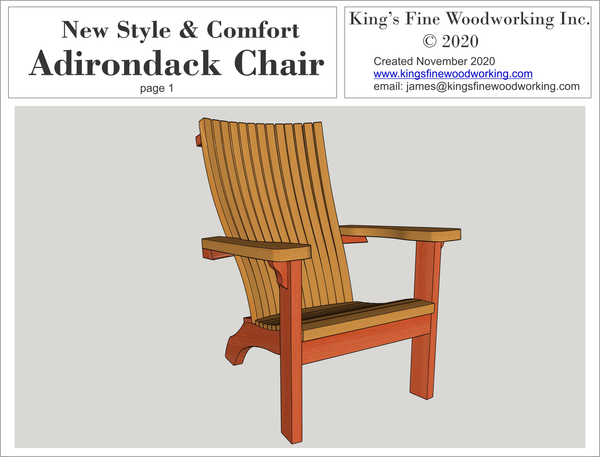 Adirondack Chair, New Comfort Design 3-D Plans