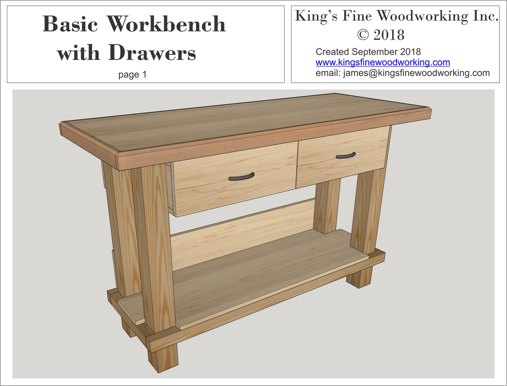 Basic Workbench With Drawers 3d Plans King S Fine Woodworking Inc