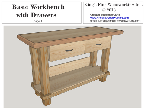 Basic Workbench with Drawers 3D Plans