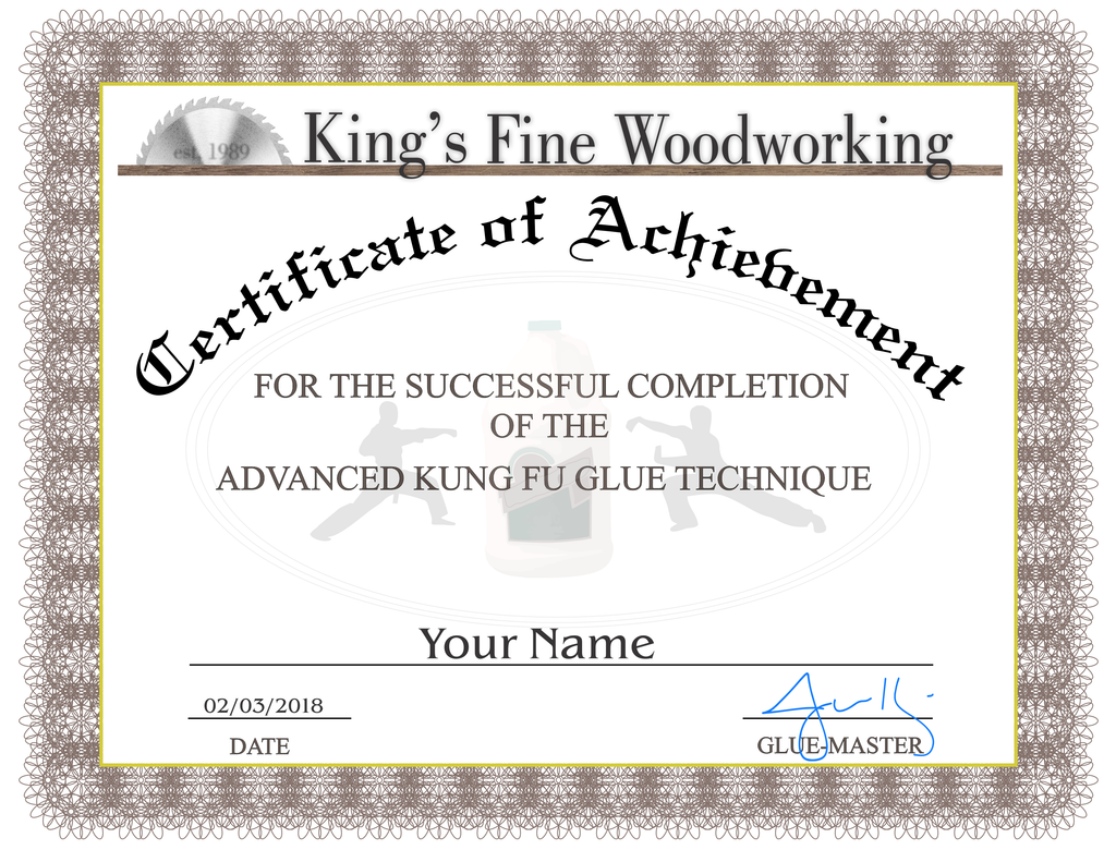 Certificate of Completion Advanced Kung Fu Glue Technique