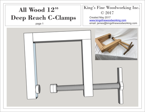 "Plans for Deep Reach C-Clamp 12"" All Wood"