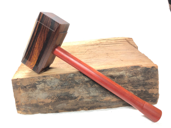 Thor's Hammer Woodworking Mallet Cocobolo Head Redheart Handle