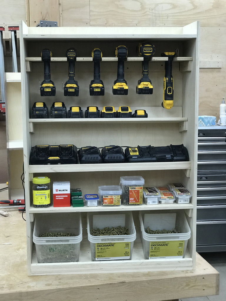 Plans For The Cordless Drill Shelf And Charging Station King S Fine Woodworking Inc