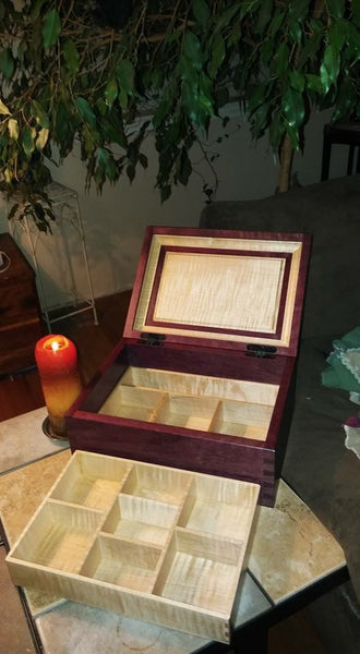 purpleheart keepsake box with maple lift out tray through dovetail joinery custom woodworking piece completed gift candle light