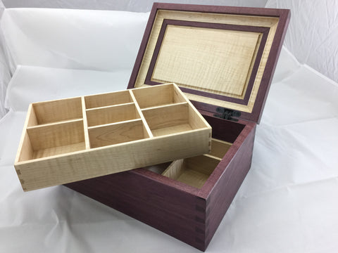 purpleheart keepsake box with maple lift out tray through dovetail joinery custom woodworking piece