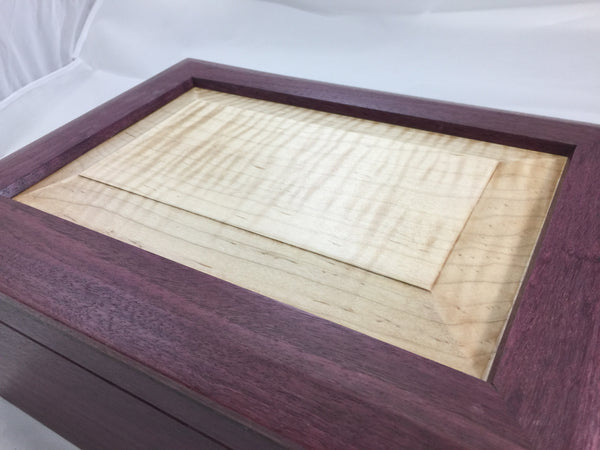 purpleheart keepsake box with maple lift out tray through dovetail joinery custom woodworking piece closeup tiger maple lid