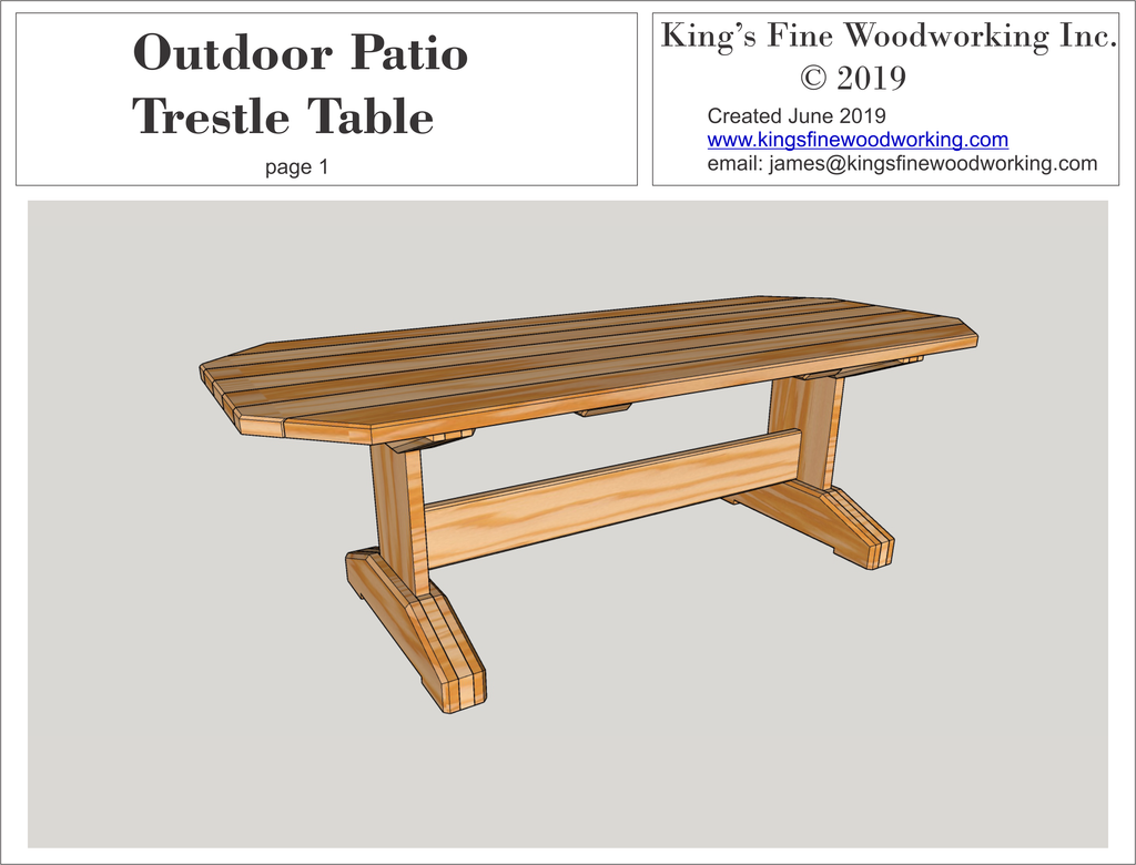 Outdoor Patio Table Trestle Style