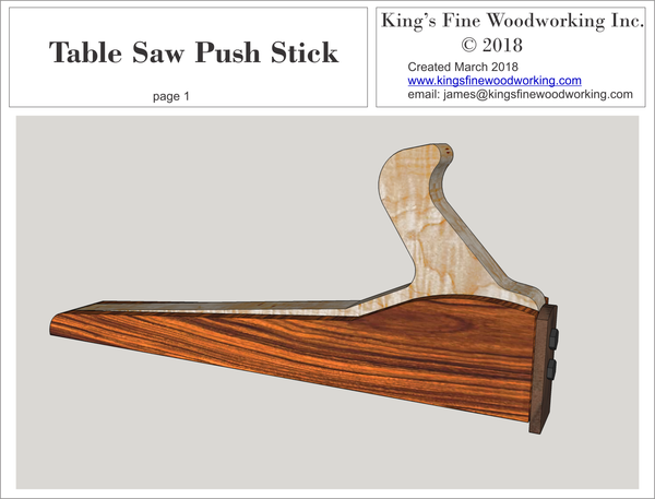 Table Saw Push Stick Measured Drawing ~ FREE