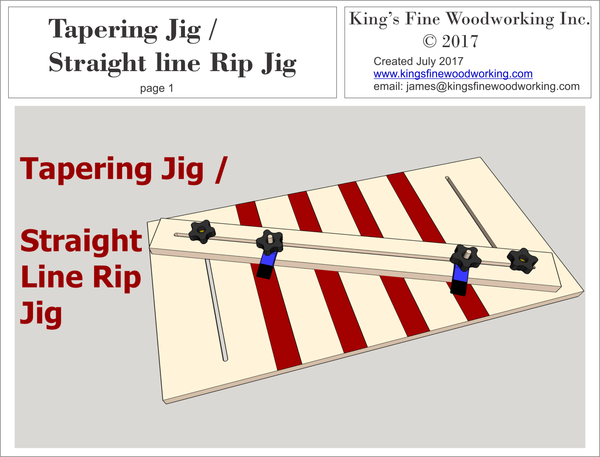 Plans for Tapering Jig / Straight Line Rip Jig
