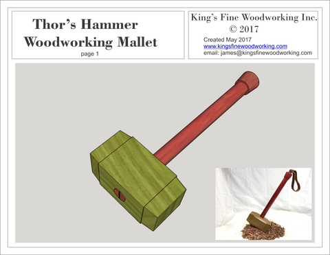 Plans for Woodworking Mallet in the Style of Thor's Hammer, Mjolnir