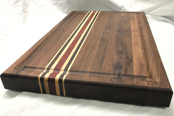 Walnut Cutting Board made with exotics. Strips of solid Wenge wood, Maple & African Padauk