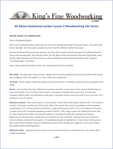 All About Hardwood Lumber Information Packet, in PDF Format