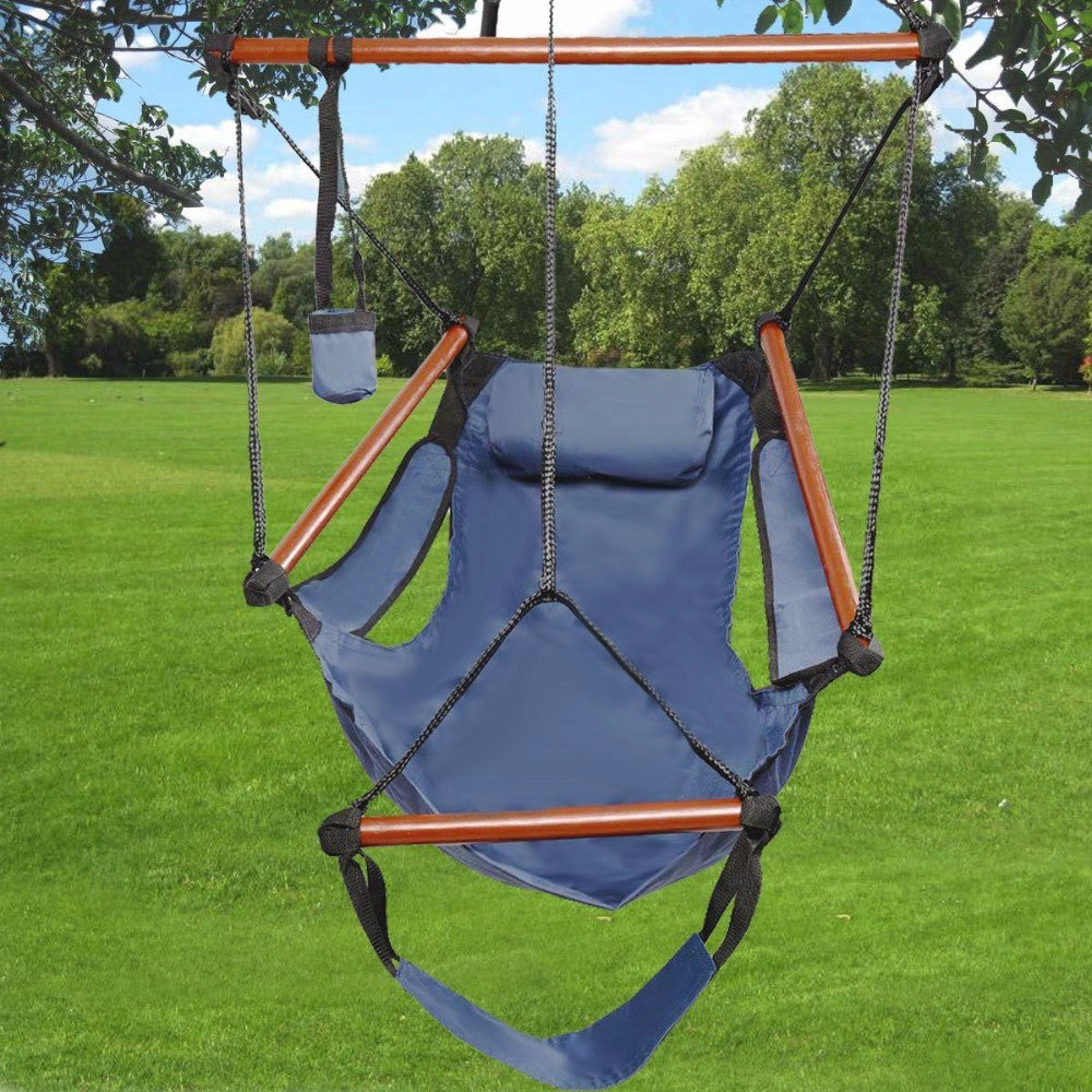 Outdoor /  Indoor Hammock Hanging Deluxe Swing Chair Solid Wood